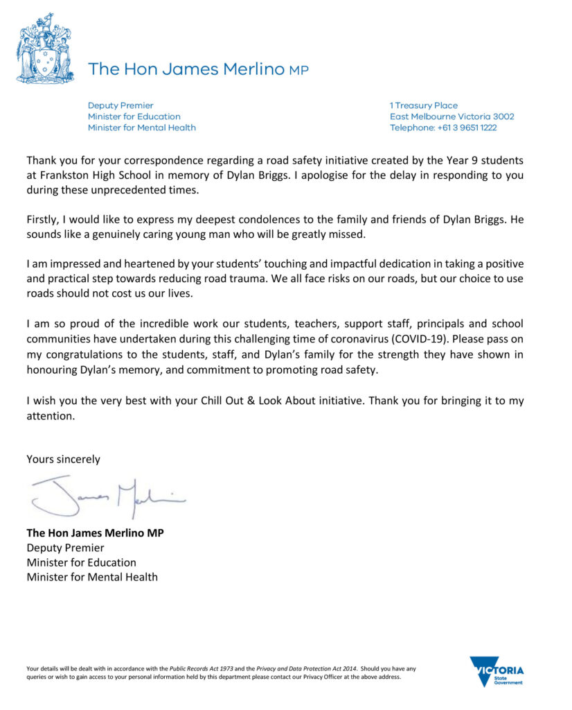 Letter from The Honorable James Merlino MP